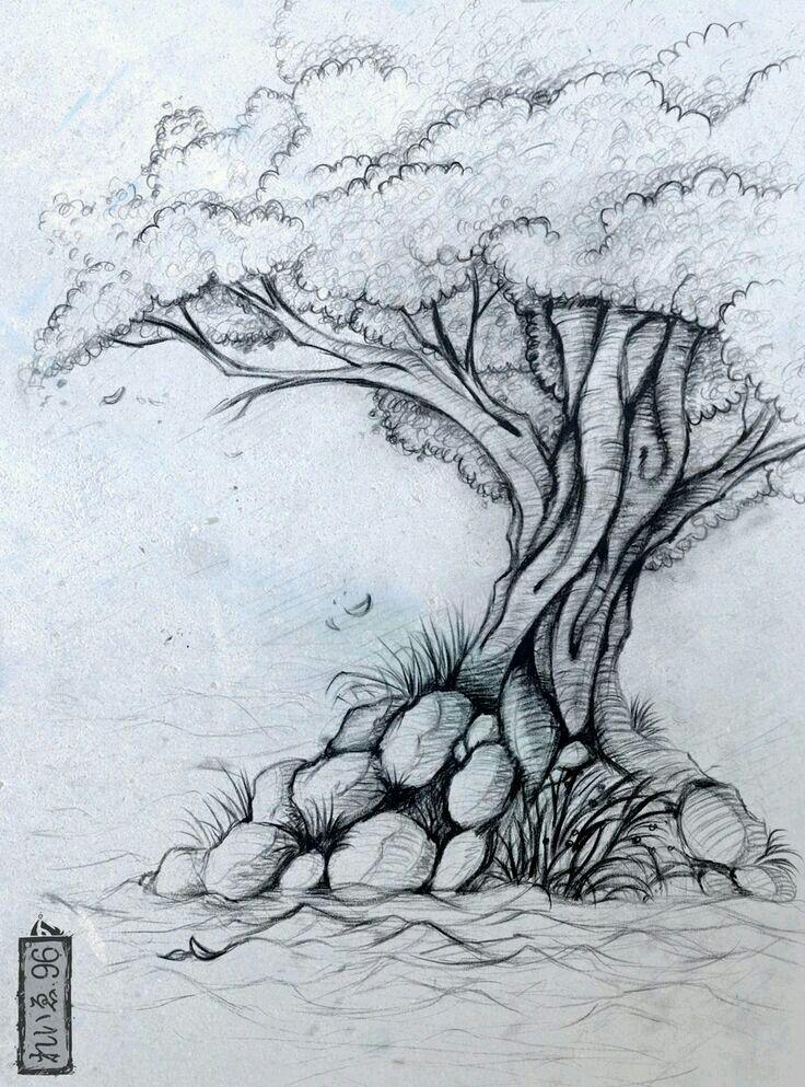 Arbres rboles pinterest zeichnen baum und skizzen for Basic portrait painting