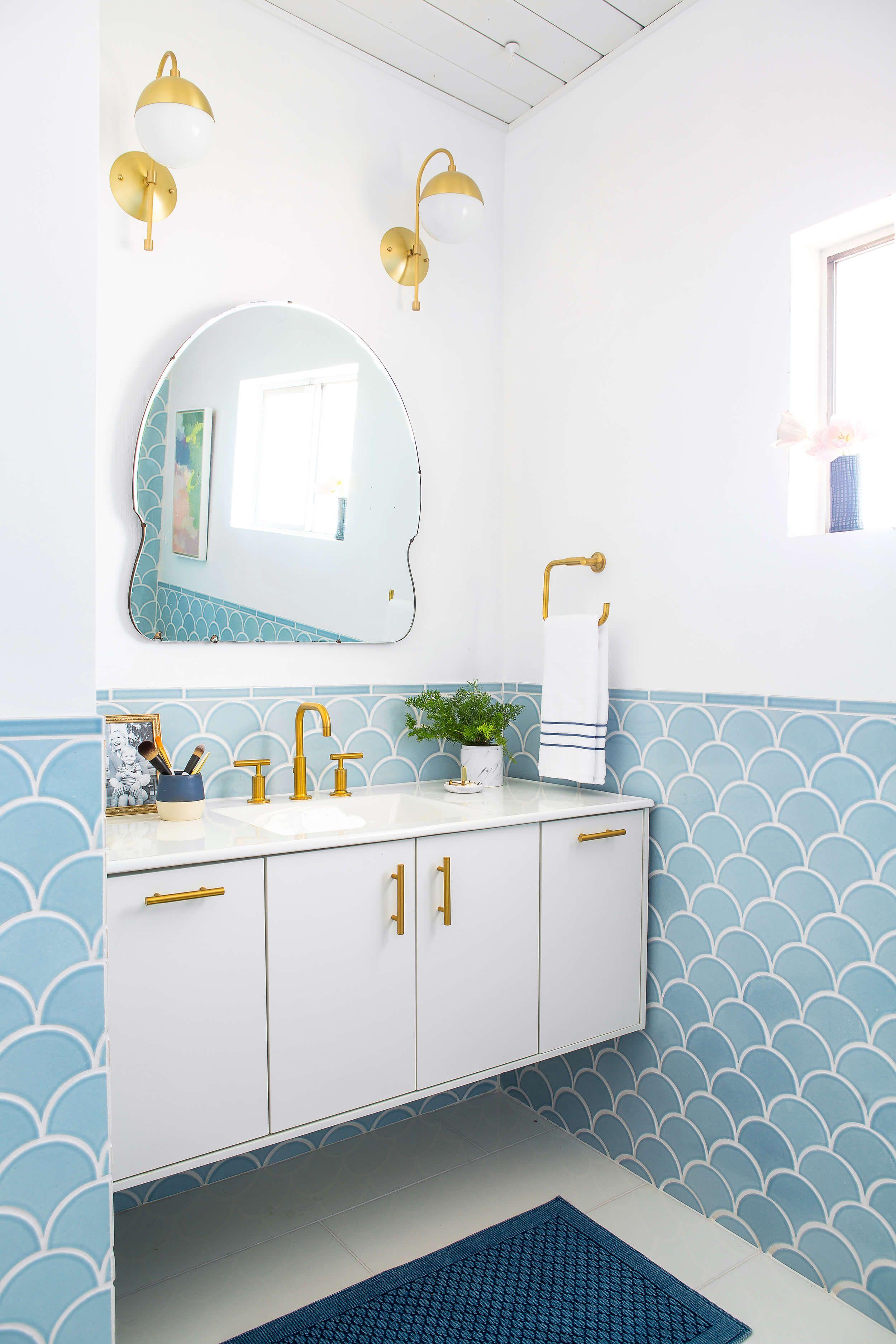 57 Affordable Bathroom Faucets Emily Henderson Fish Scale Tile Bathroom Bathroom Trends Trending Decor