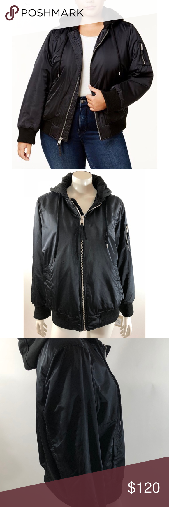 30b85b3b00d Levis Womens Satin Bomber Jacket Plus Sz 1X Black Levis Womens Satin Bomber  Jacket Plus Size 1X Black Zip Up Hooded Coat New Measurements  (in inches)  ...