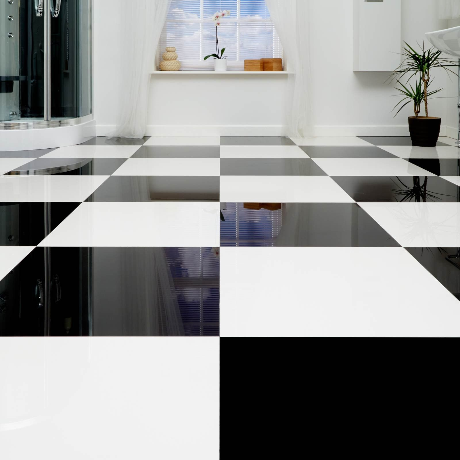 Amazing X Absolute Black Polished Porcelain(Box Of   Black And White Bathroom Ideas    Black Floor Tiles   Better Bathrooms