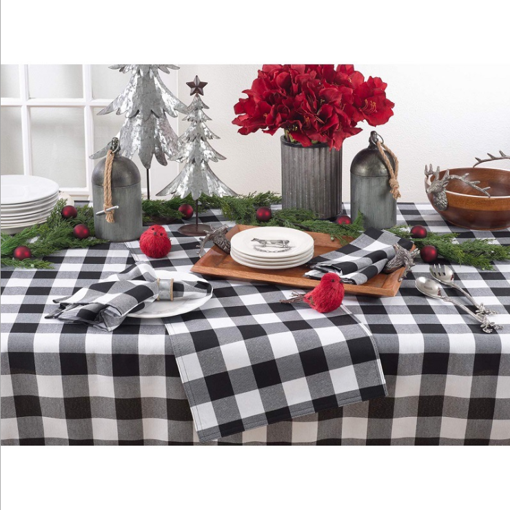 Photo of Black and white plaid Christmas tablecloth