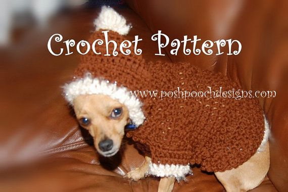 Instant Download Crochet Pattern Dog Hoodie With Fur Trim Dog