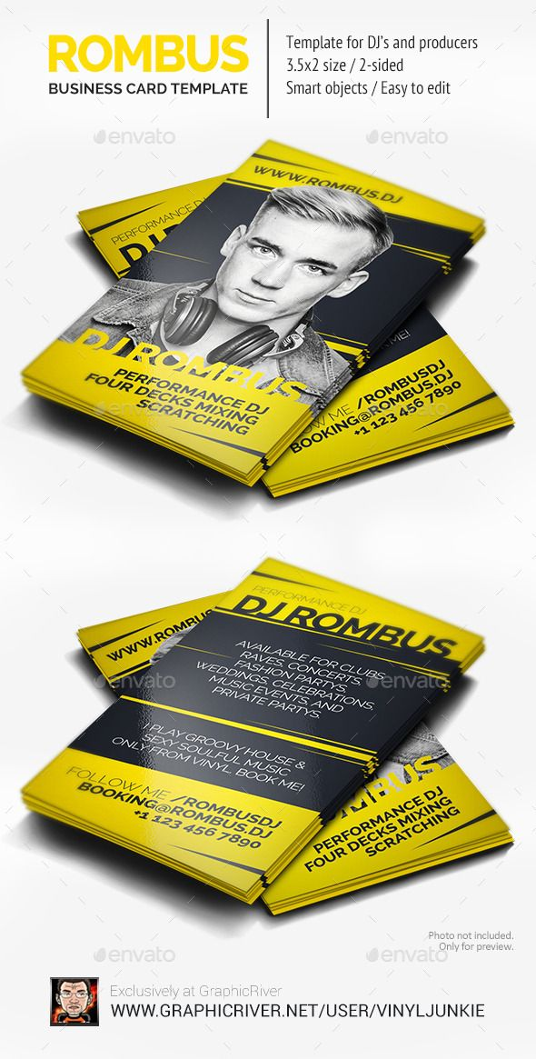 Rombus - DJ Business Card Dj business cards, Business cards and - resume x ray tech