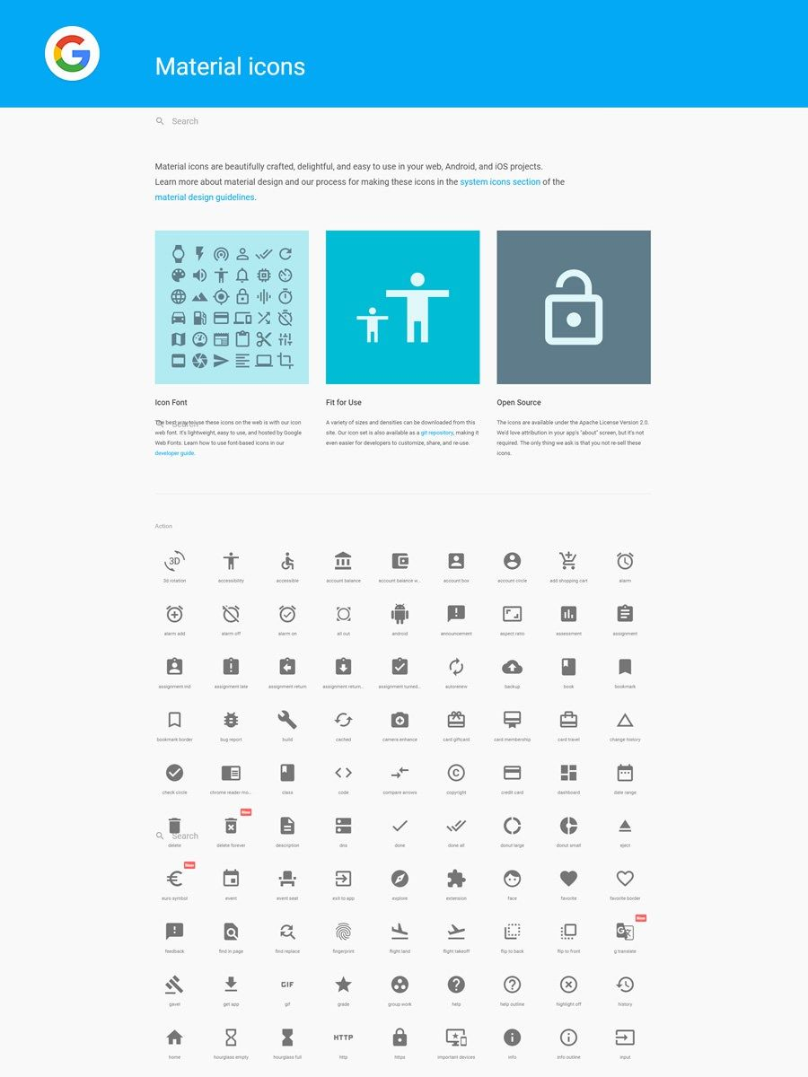google material icons check it out and download all for free