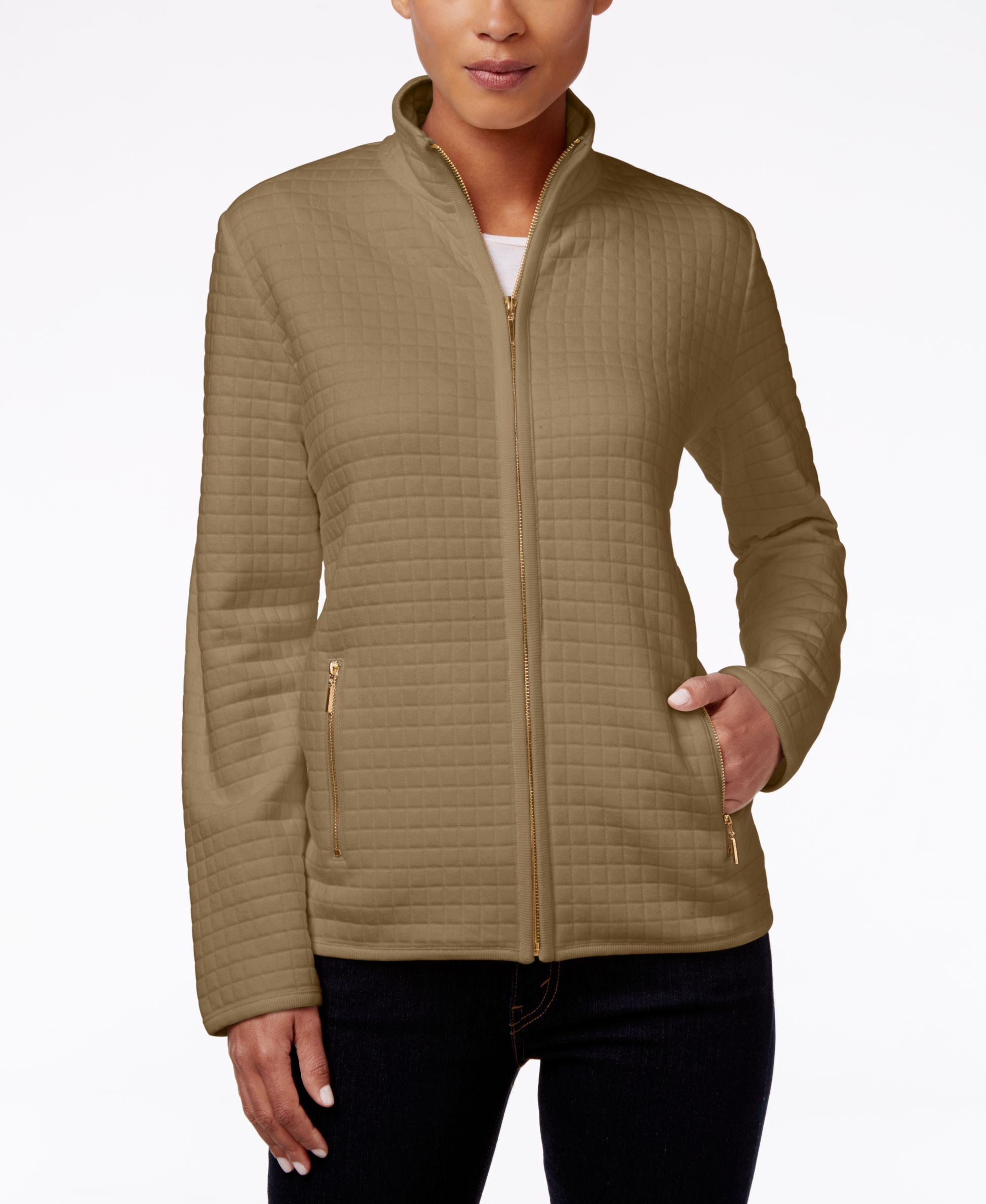 Karen Scott Quilted Zipper Front Jacket Only At Macy S Blazer Jackets For Women Zipper Front Jacket Jackets [ 2378 x 1947 Pixel ]