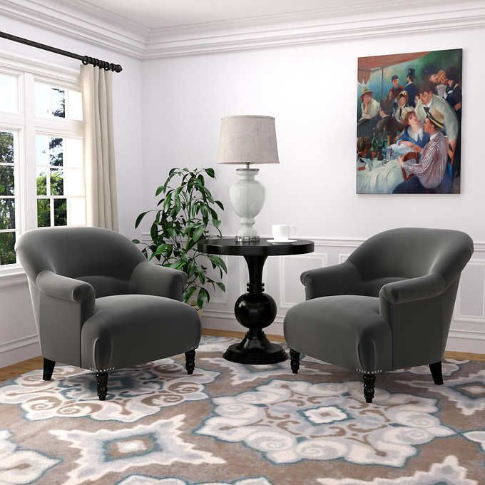 Jackie 2 Pack Fabric Accent Chairs Gray 569 99