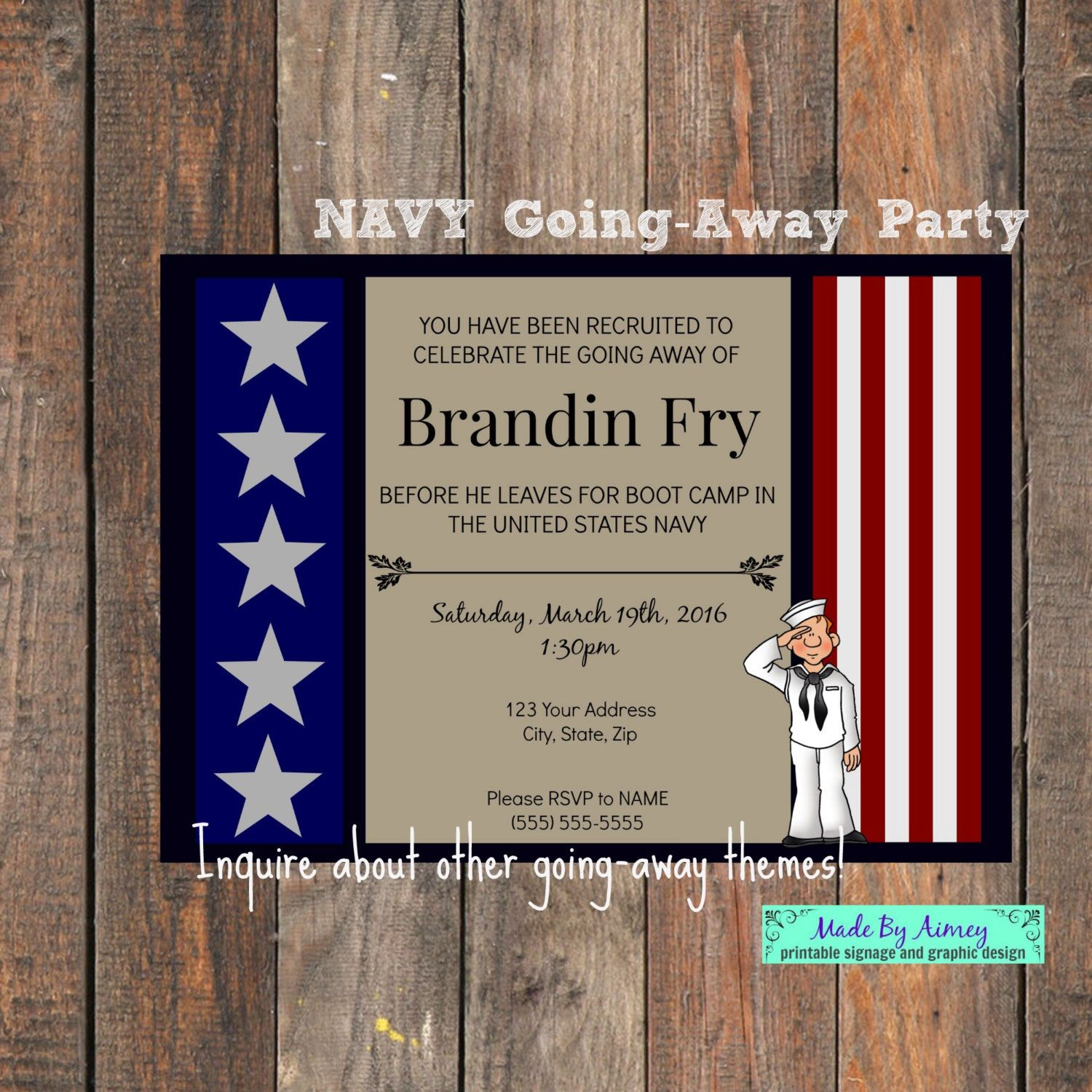 Military Going Away Party - Navy Farewell Invitation | Going away ...
