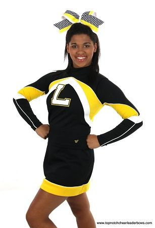 #Chevron Black Yellow Big #Cheer Hair Bow