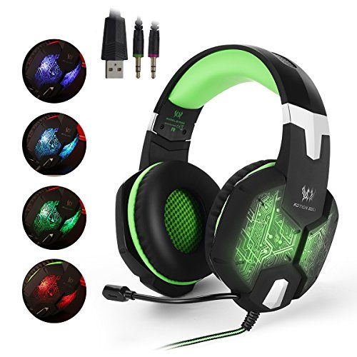 EasySMX ColorChanging Breathing LED Light Wired Gaming Headset PC Headset  with Microphone 35mm Stereo Overear Headphones for PC Laptop Computer  Volume ... 56eed560f1fc