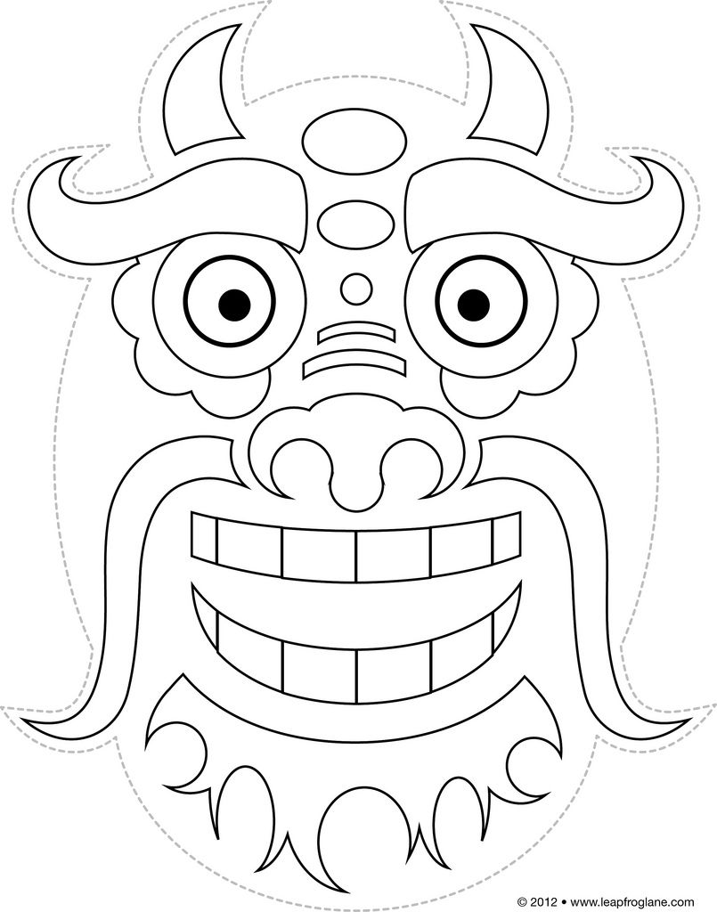 Chinese Dragon Mask Drawing Printable B Chinese Dragon Masks B