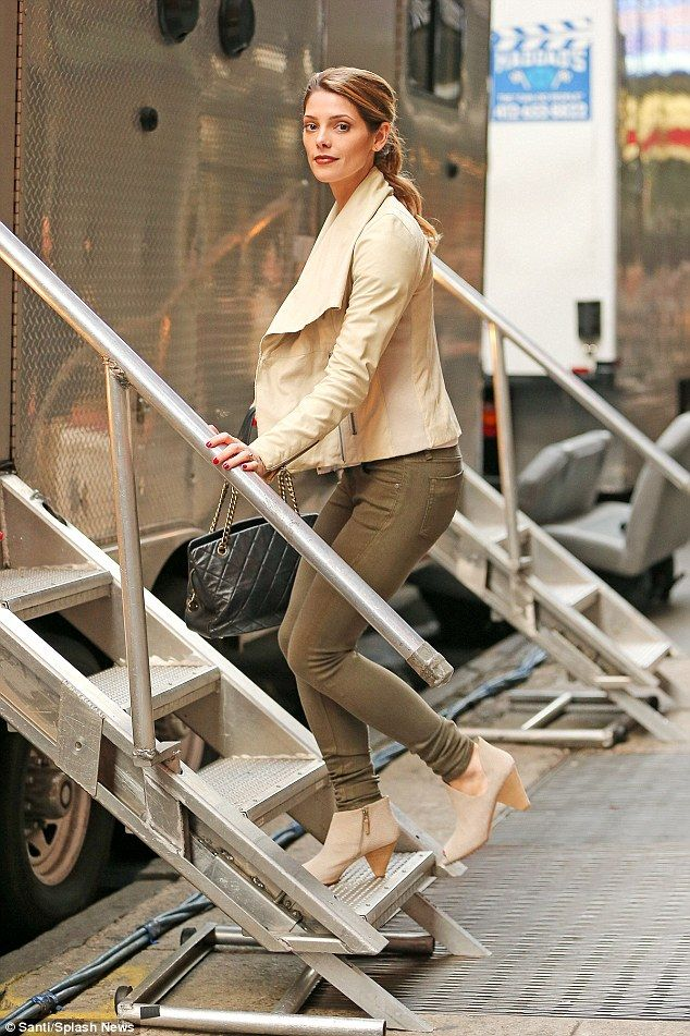 Namesake: Ashley Greene wears khaki green on Urge set...
