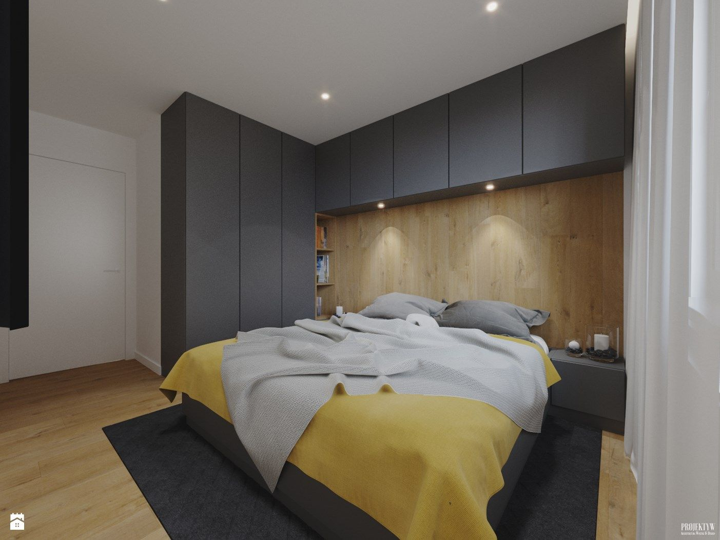 I like the light wood and dark cupboard contrast bedroom designs