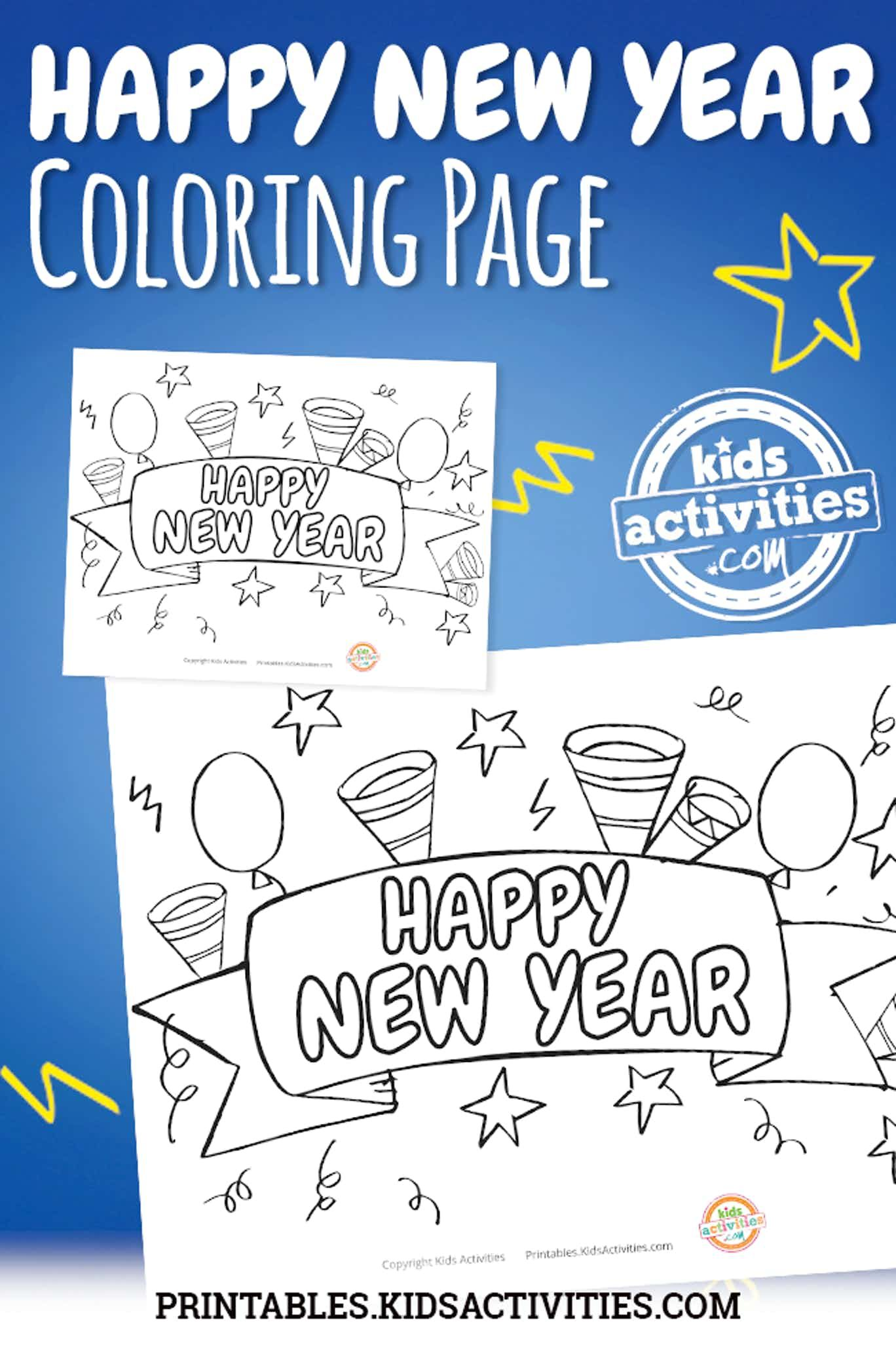 Happy New Year Coloring Page | New year coloring pages ...