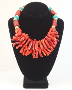 Coral & turquoise necklace, hot combo!