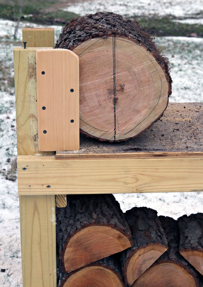 This serious, semi-permanent, cutting bench/sawbuck can be used to saw slabs or sections from logs or crotches. Makes it easy to secure odd shaped crotch wood or fresh-cut logs. - videos - Fine Woodworking