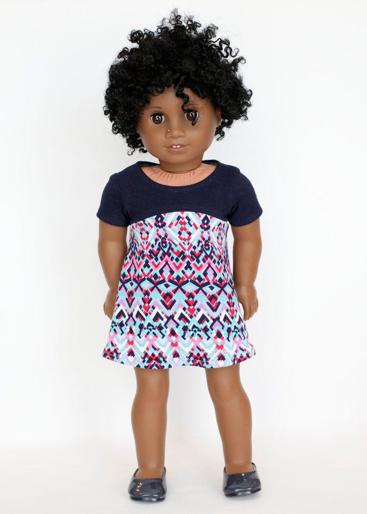 American Girl doll sized tri-city knit dress - multicolored by EverydayDollwear on Etsy