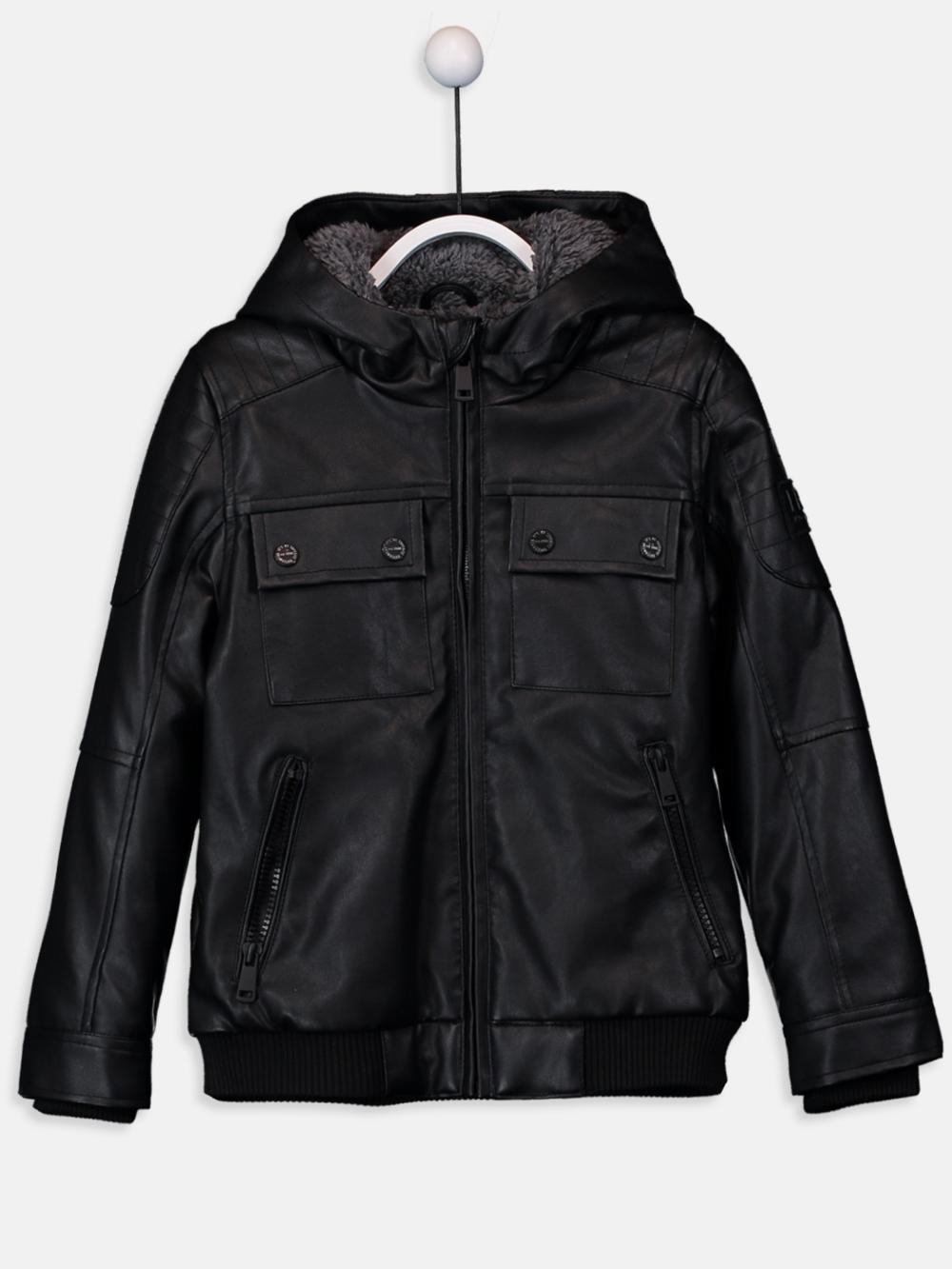 خرید کاپشن پسربچه چرم مشکی Motorcycle jacket