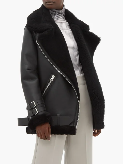 Velocite leather and shearling aviator jacket Acne