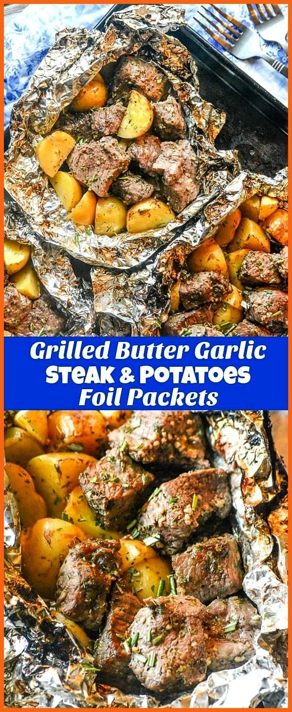 Butter Garlic Steak & Potato Foil Pack Dinner - 4 Sons 'R' Us Grilled Butter Garlic Steak & Potato