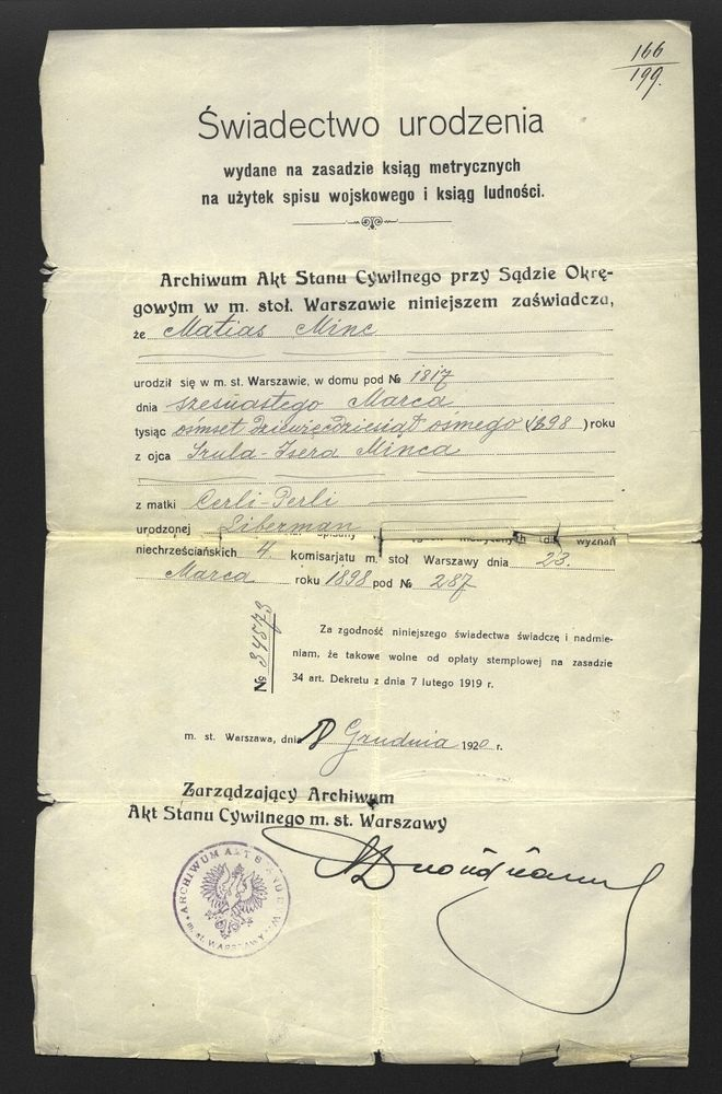 Judaica Poland WARSAW Birth Certificate MINC 1920 jewish Family - birth certificate