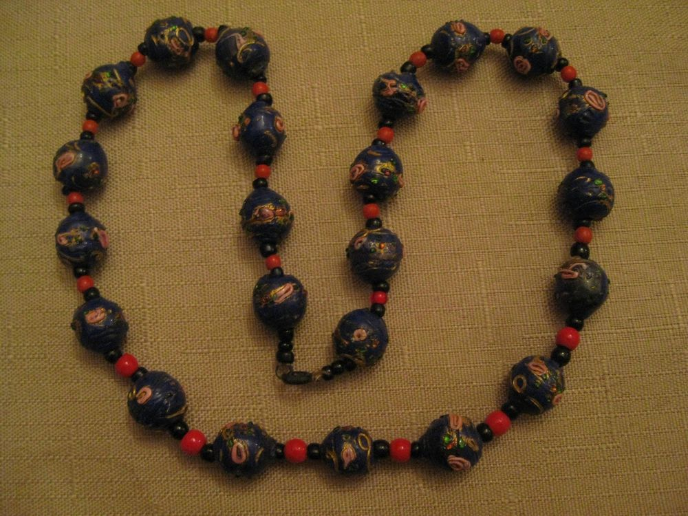 WEDDING CAKE Beaded Necklace Venetian MURANO Glass Navy Blue Colored Bead With Roses Necklace 1930/'s Vintage