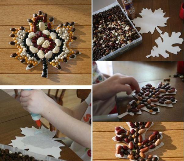 basteln herbst kindern hülsenfrüchte mosaik idee | herbst, Best garten ideen