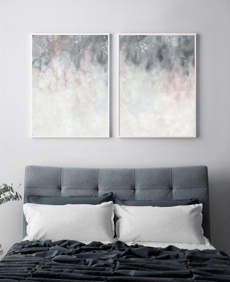 Printable Wall Art Pink Grey Wall Art Bedroom Print Set Set Etsy In 2021 Grey Wall Art Pink Grey Wall Art Grey Walls