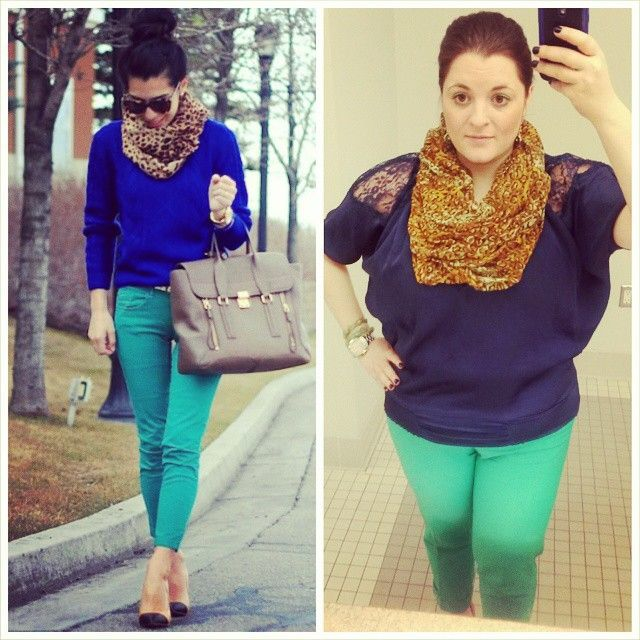 #ChubbyChique 2-12-2015 #ootd #FebruaryPinnedItSpinnedIt Green, blue and leopard inspiration