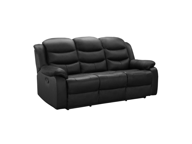 Relaxsofa Leder 3 Sitzer Pliton Schwarz Relaxsessel Leder Sofa Relaxen