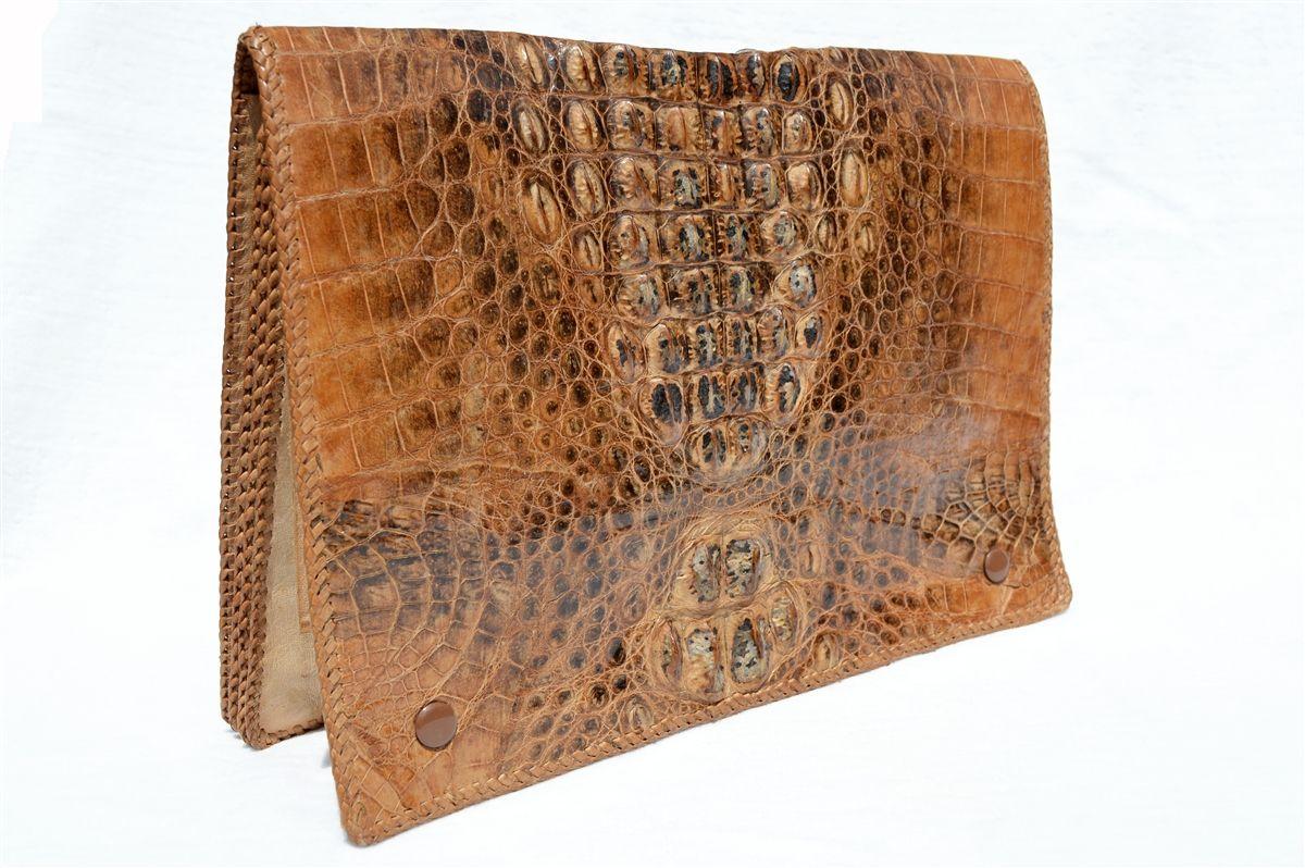 Glossy Soft 1950 S 60 S Hornback Crocodile Skin Portfolio Ipad Case Business Folder Crocodile Skin Business Folder Crocodile