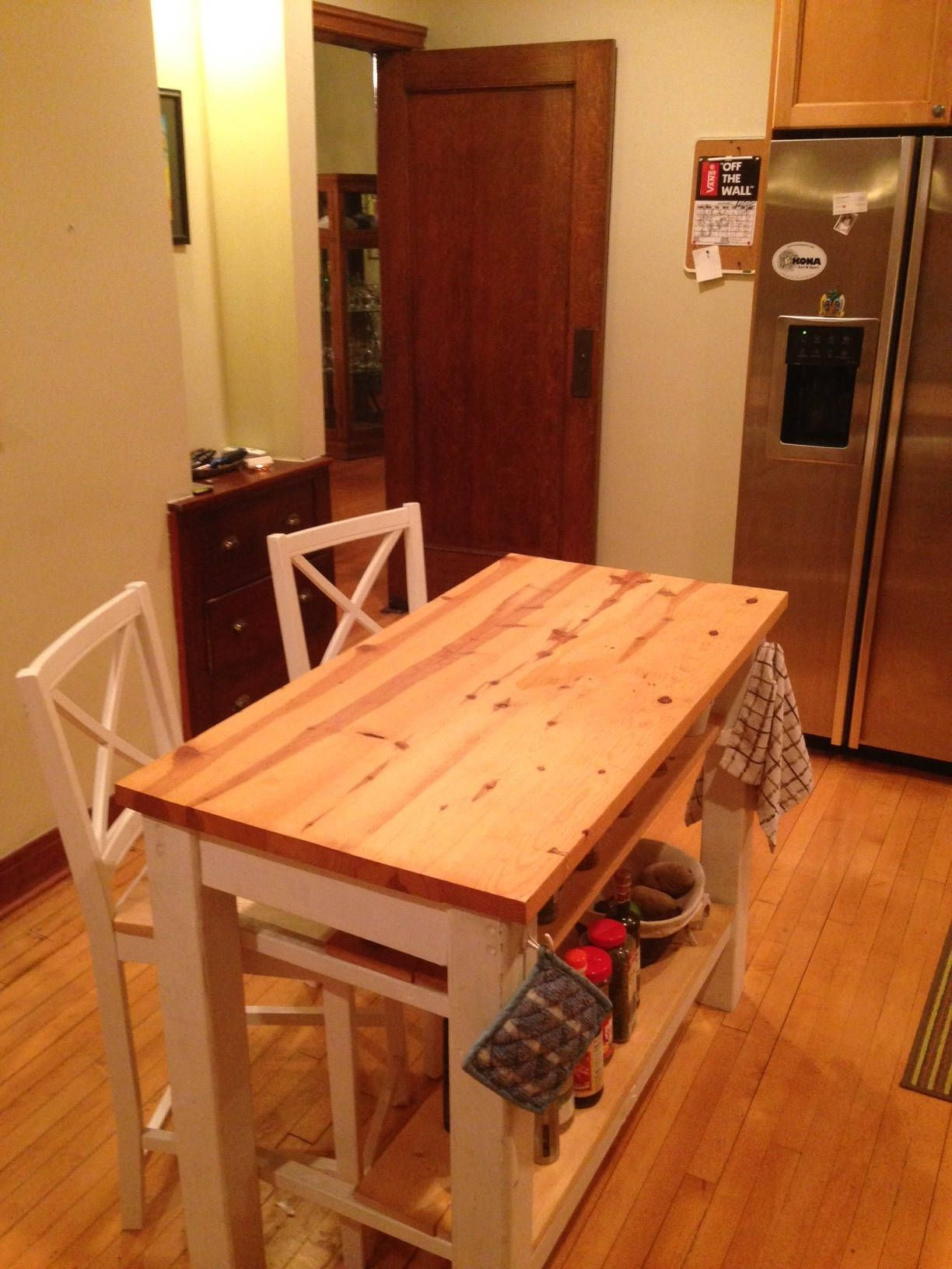 Farmhouse Kitchen Island Butcher block style table with seating