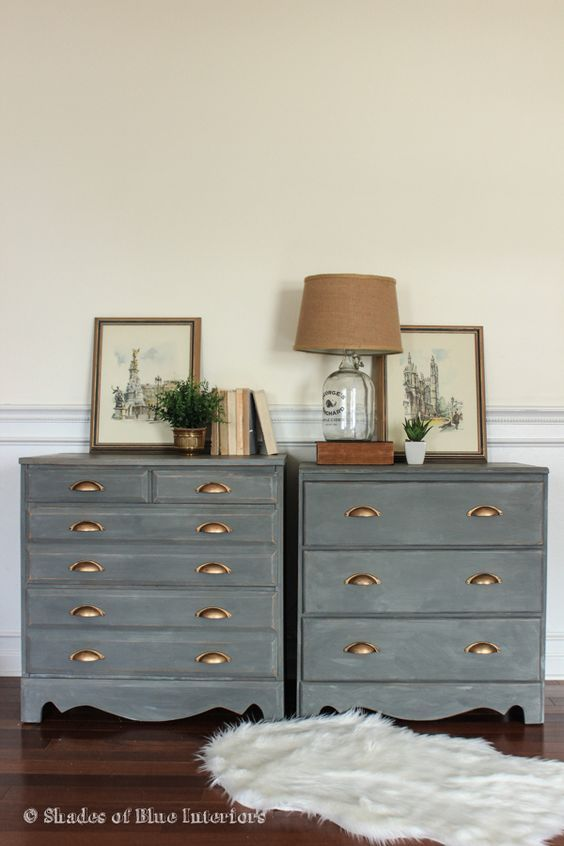 A Pair Of Charcoal Gray Nightstands With Gold Cup Pulls Diy