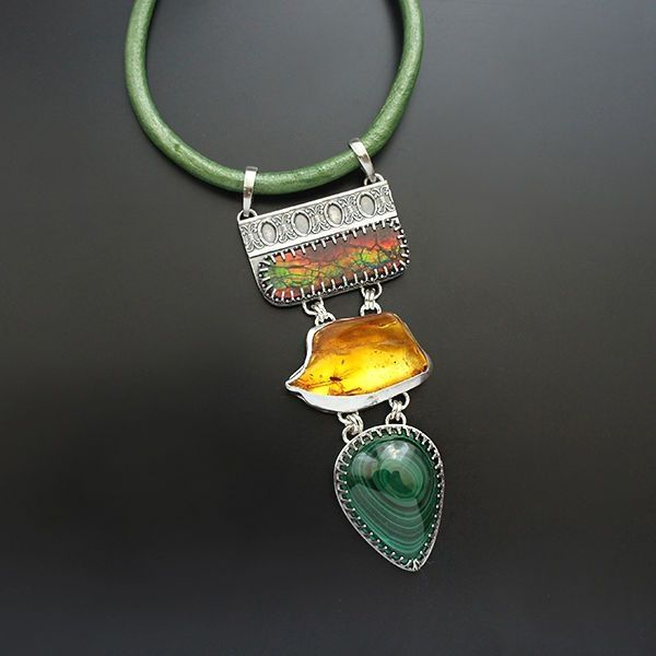 Story Of The Old Forest   Silver Amber & Gemstones Choker Necklace - product images  of SCHJ  www.silverchamber...