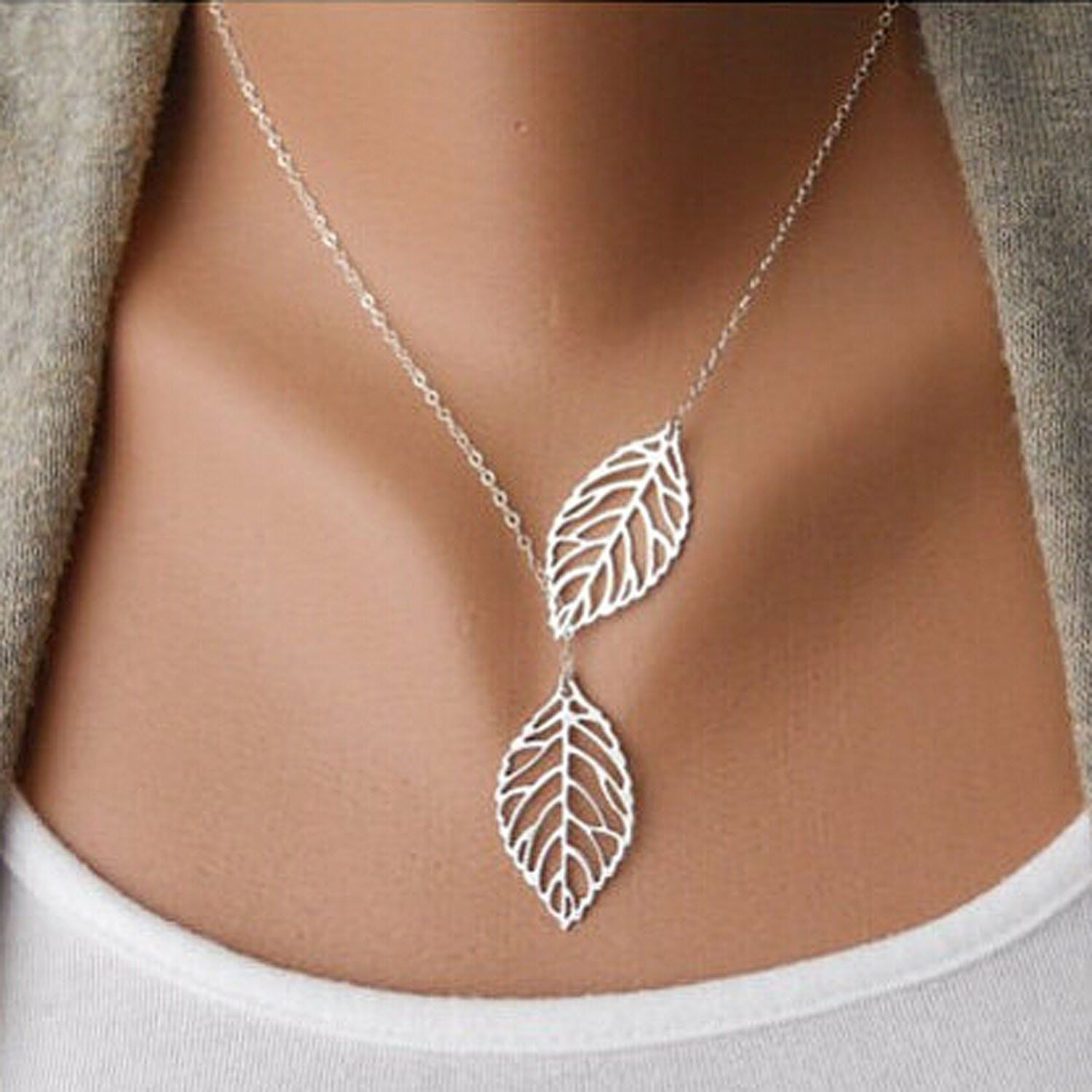 Aukmla Chic Leaf Shaped Chain Jewelry Necklaces for Women ...