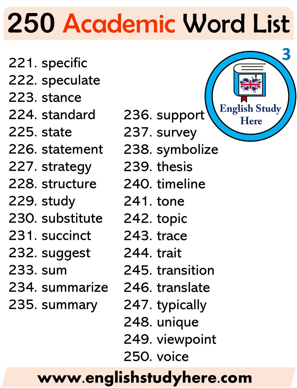 250 Academic Words List English Vocabulary Words English Study