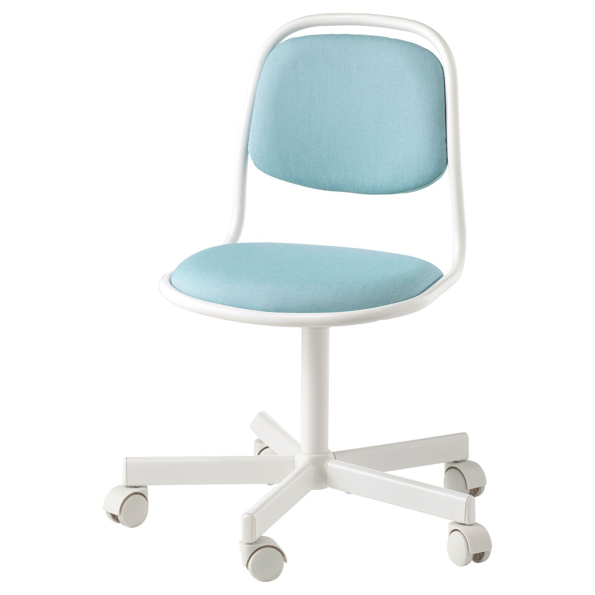 ÖRFJÄLL Child's desk chair white, Vissle blue/green in