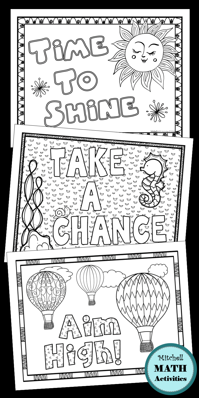 Set of 4 motivational coloring pages. Students will enjoy this