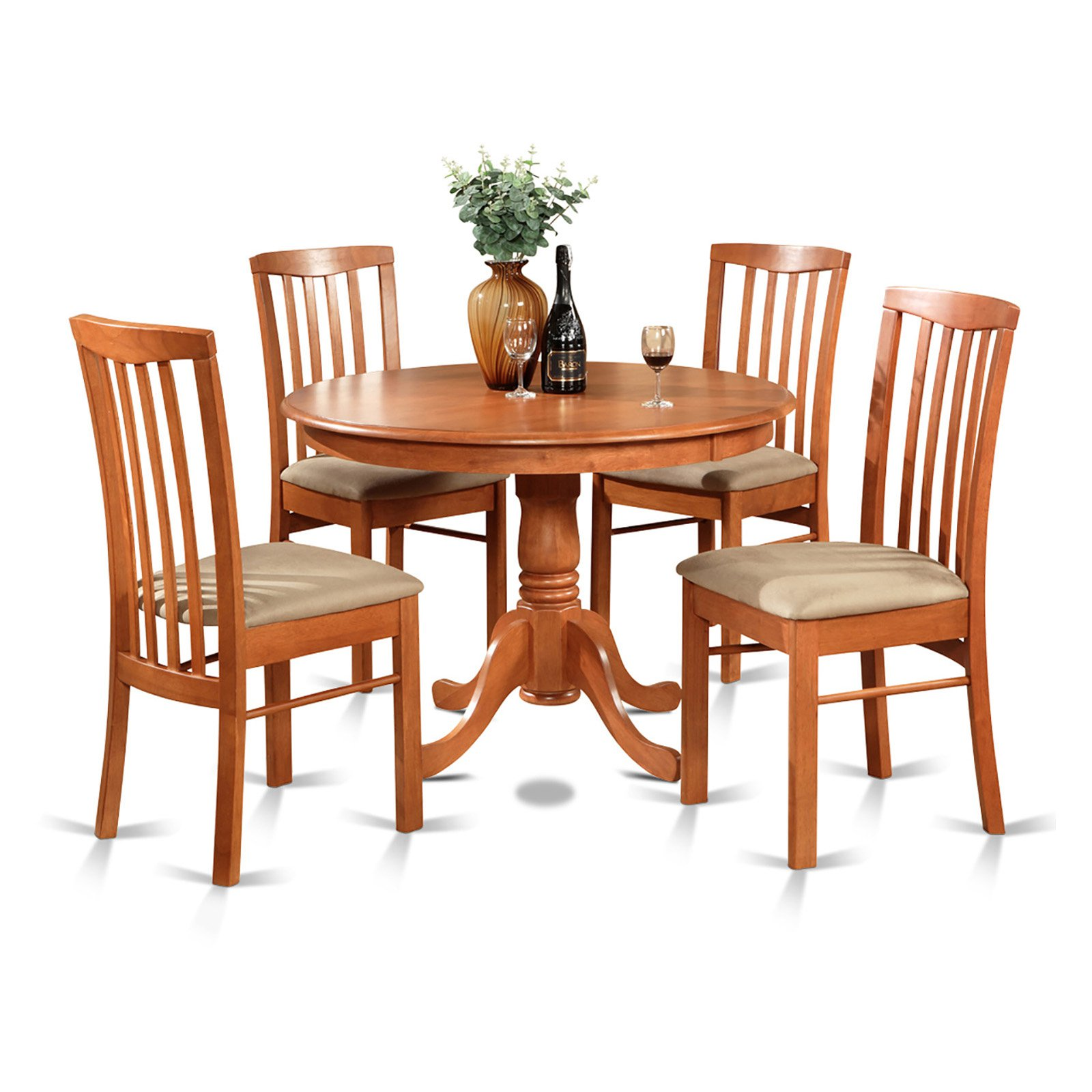 East West Furniture Hartland 5 Piece Round Pedestal Dining Table