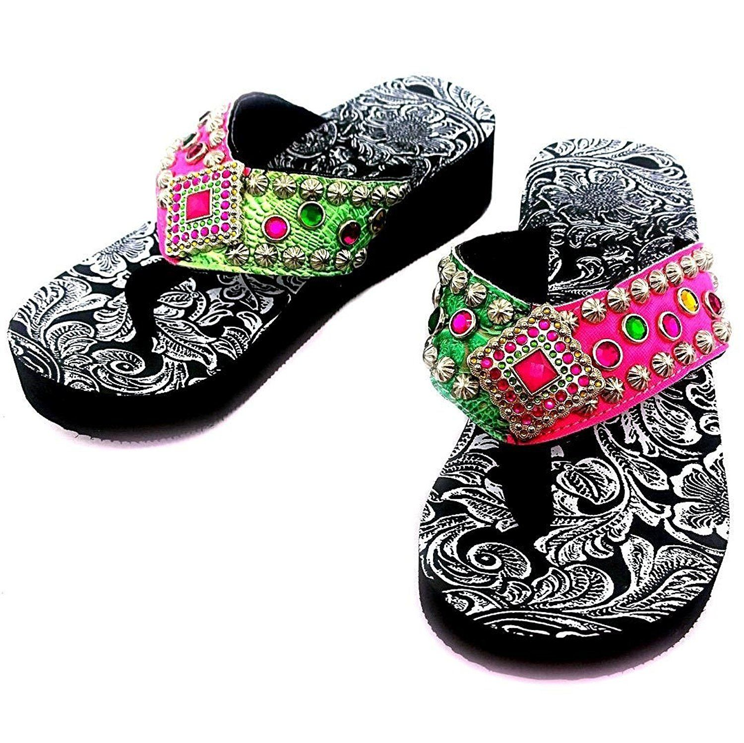 Women's Rhinestone Diamond Concho and Studs Multicolor Pink and Green PU Sandal Flip Flop