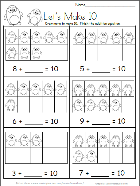 Free Kindergarten Math Worksheets For Winter Make 10 Penguins Madebyteachers Kindergarten Math Worksheets Free Winter Math Kindergarten Winter Math Worksheets