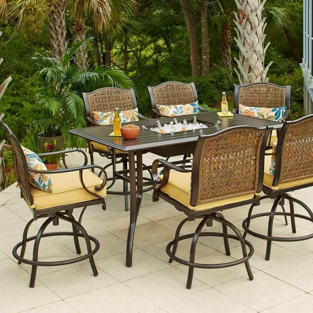 Outdoor bar height table and chair set