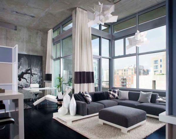 70 ides damnagement de salon moderne pour lhomme - Salon Avec Canape Noir