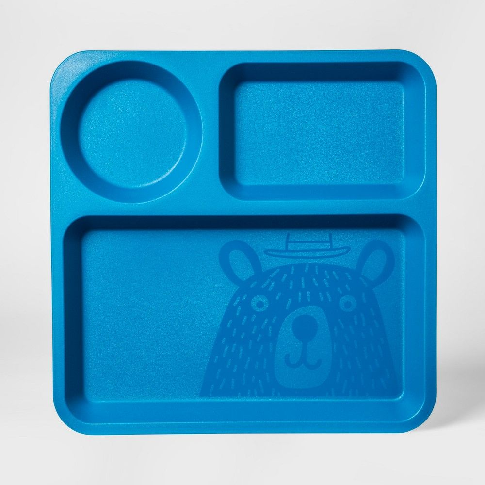 plastic kids square divided plate blue pillowfort products