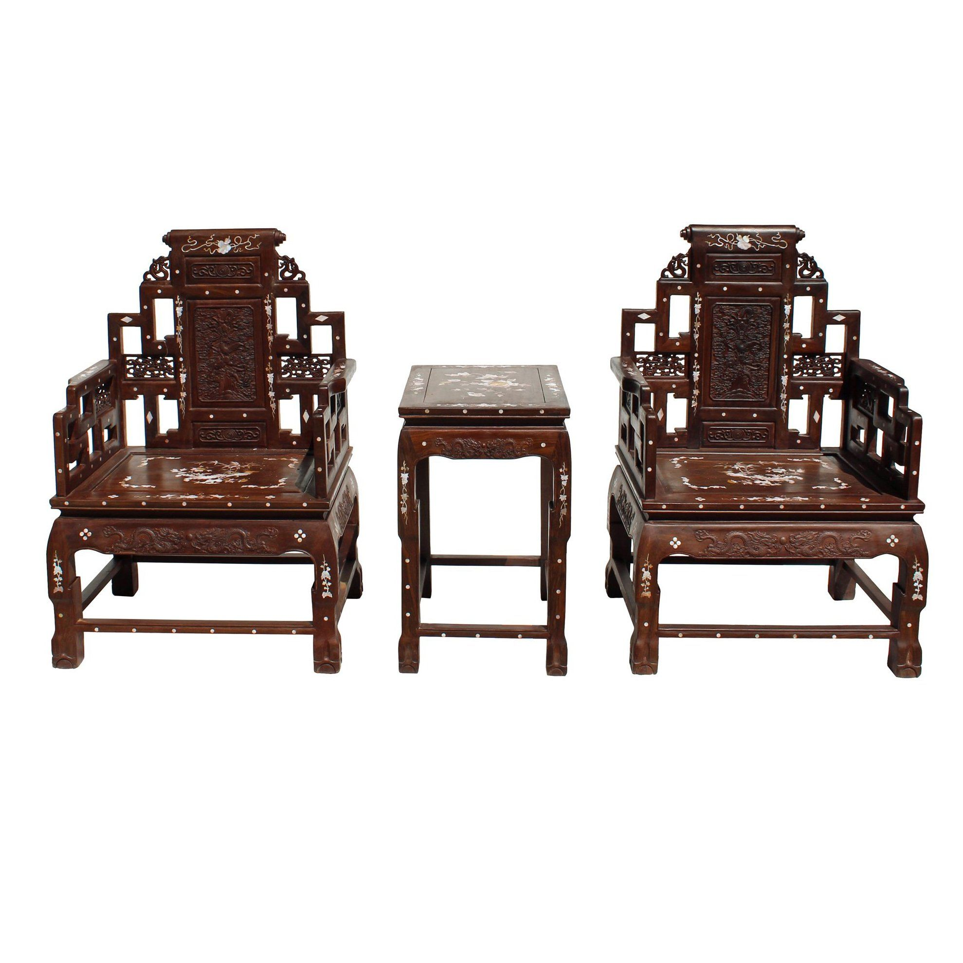 Chinese Huali Brown Rosewood Mother Of Pearl Inlay Carved Armchair