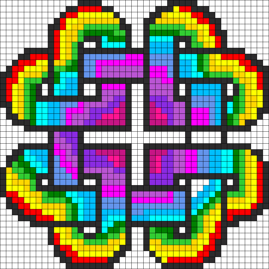 Rainbow Heart Pattern1 Perler Bead Pattern / Bead Sprite COULD BE CROSS STITCH TOO