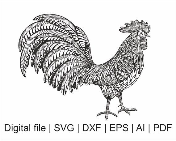 rooster svg rooster silhouette bird svg mandala svg zentangle