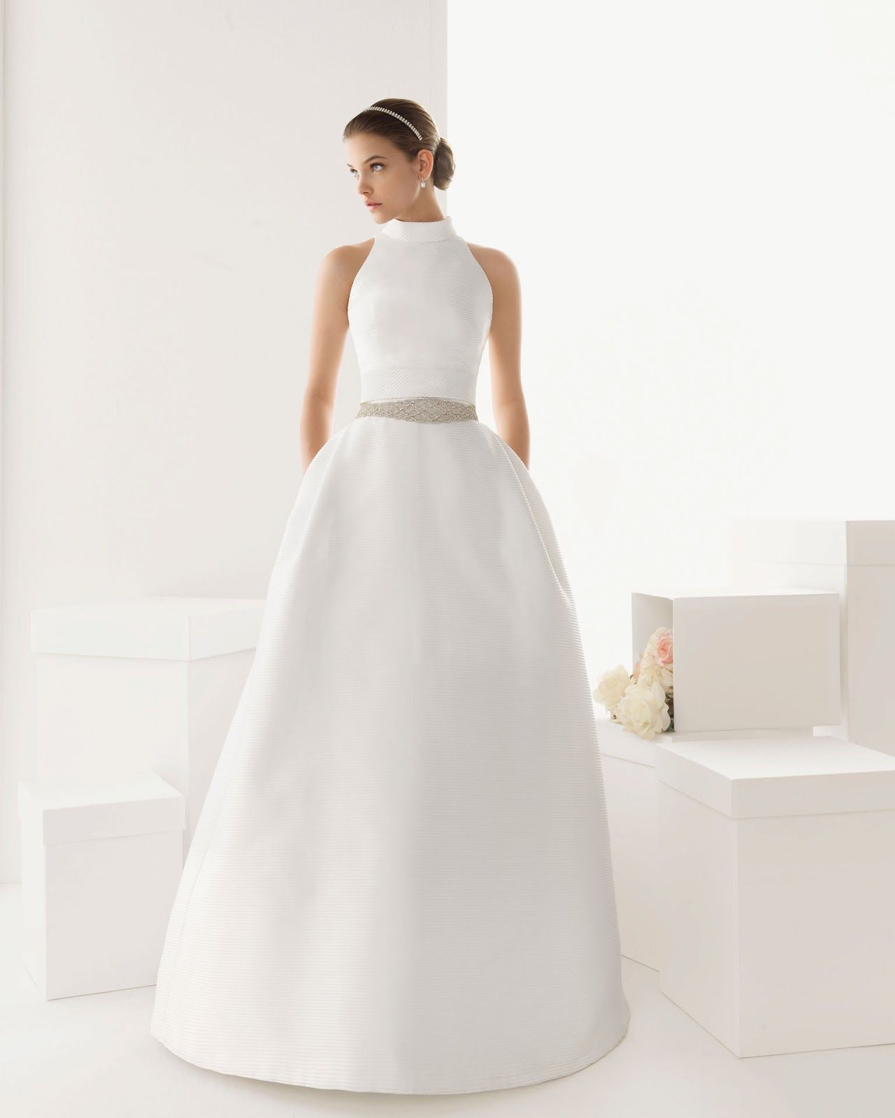 High Neck Wedding Dress With Pockets By Rosa Clara Wedding Dresses Satin Wedding Dress With Pockets High Neck Wedding Dress