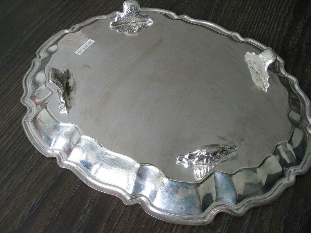 48fd2404828ce Vintage International Silver Co Chippendale Silver Plate Footed Tray ...
