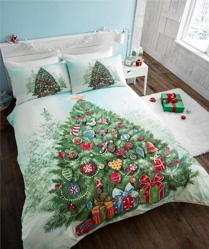 Detalles de Edredón de Navidad árbol de funda nórdica y 2 Fundas