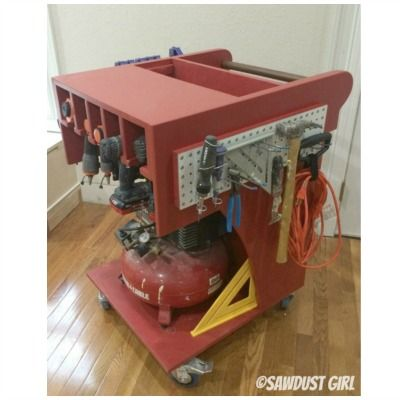Diy Rolling Air Compressor And Tool Organizing Work Cart Tutorial Building Plan From Sawdust